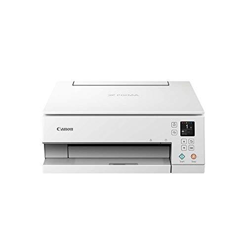 Canon PIXMA TS6351 Drucker Farbtintenstrahl Multifunktionsgerät DIN A4 (Scanner, Kopierer, Fotodrucker, OLED, 4.800 x 1.200 dpi, USB, WLAN, 5 separate Tinten, Duplexdruck, 2 Papierzuführungen) weiß